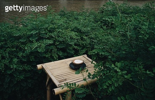 High Angle View Of Coffee On Table Amidst Plants - gettyimageskorea