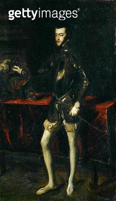 <b>Title</b> : Copy after Titian's Portrait of Philip II (oil on canvas)Additional InfoPhilip II (1527-98), King of Spain (1556-98) and of Port<br><b>Medium</b> : oil on canvas<br><b>Location</b> : Private Collection<br> - gettyimageskorea