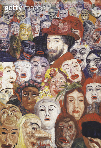 <b>Title</b> : My Portrait Surrounded by Masks, 1899 (oil on canvas) (see 188976 & 188977 for details)Additional InfoMon Portrait Entoure de Ma<br><b>Medium</b> : oil on canvas<br><b>Location</b> : Private Collection<br> - gettyimageskorea