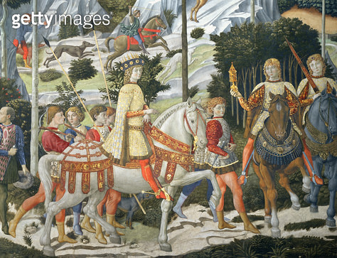 <b>Title</b> : Lorenzo de' Medici, the Magnificent (1449-92), as one of the Three Kings, detail from the Journey of the Magi cycle in the chape<br><b>Medium</b> : <br><b>Location</b> : Palazzo Medici-Riccardi, Florence, Italy<br> - gettyimageskorea