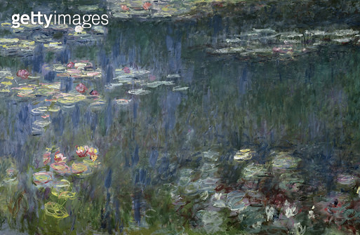 <b>Title</b> : Waterlilies: Green Reflections, 1914-18 (left section) (oil on canvas) (see also 56001 & 56004)<br><b>Medium</b> : oil on canvas<br><b>Location</b> : Musee de l'Orangerie, Paris, France<br> - gettyimageskorea