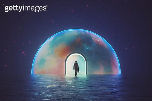 Man walking into different dimension - gettyimageskorea