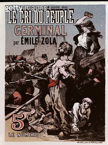 <b>Title</b> : Poster advertising the publication of 'Germinal' by Emile Zola (1840-1902) in 'Le Cri du Peuple' (colour litho)<br><b>Medium</b> : <br><b>Location</b> : Musee de la Ville de Paris, Musee Carnavalet, Paris, France<br> - gettyimageskorea