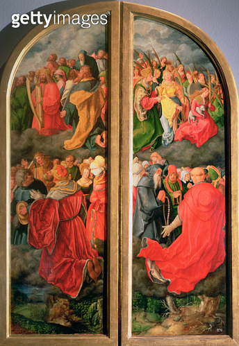 <b>Title</b> : All Saints Day altarpiece, partial copy in the form of two side panels, 16th century (oil on panel)<br><b>Medium</b> : oil on panel<br><b>Location</b> : Kunsthistorisches Museum, Vienna, Austria<br> - gettyimageskorea