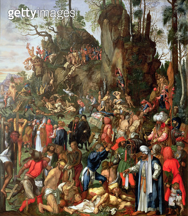 <b>Title</b> : Martyrdom of the Ten Thousand, copy of a painting by Albrecht Durer, 1653 (oil on panel)<br><b>Medium</b> : oil on panel<br><b>Location</b> : Kunsthistorisches Museum, Vienna, Austria<br> - gettyimageskorea