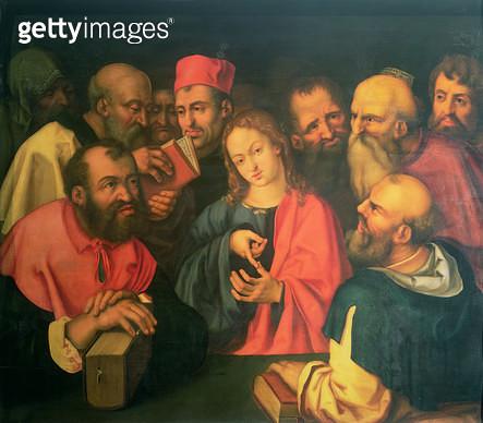 <b>Title</b> : Christ, aged twelve, among the scribes, 16th or 17th century (oil on panel)<br><b>Medium</b> : oil on panel<br><b>Location</b> : Kunsthistorisches Museum, Vienna, Austria<br> - gettyimageskorea
