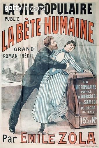 <b>Title</b> : Poster advertising the publication of 'La Bete Humaine' by Emile Zola (1840-1902) in 'La Vie Populaire', c.1890 (colour litho)Ad<br><b>Medium</b> : <br><b>Location</b> : Musee de la Ville de Paris, Musee Carnavalet, Paris, France<br> - gettyimageskorea