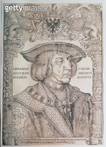 <b>Title</b> : Maximilian I, Emperor of Germany (1459-1519), 1518 (woodcut)<br><b>Medium</b> : woodcut<br><b>Location</b> : Graphische Sammlung Albertina, Vienna, Austria<br> - gettyimageskorea
