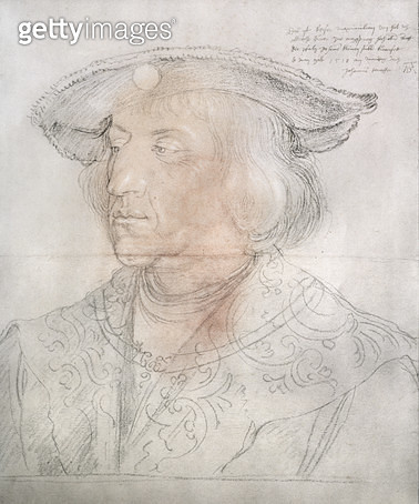 <b>Title</b> : Maximilian I, Emperor of Germany (1459-1519), 1518-19 (pencil, w/c)<br><b>Medium</b> : pencil drawing with watercolour wash<br><b>Location</b> : Graphische Sammlung Albertina, Vienna, Austria<br> - gettyimageskorea