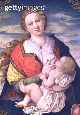<b>Title</b> : Virgin and Child, 1600 after a drawing by Albrecht Durer (1471-1528) (see 70446) (w/c on parchment placed on panel)<br><b>Medium</b> : watercolour on parchment placed on panel<br><b>Location</b> : Kunsthistorisches Museum, Vienna, Austria<b - gettyimageskorea