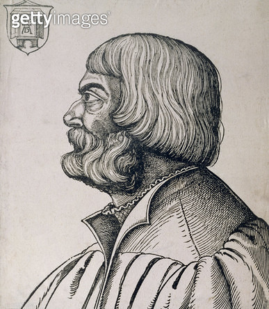 Profile portrait of Albrecht Durer (1471-1528), 1527 (woodcut) - gettyimageskorea