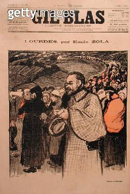<b>Title</b> : Front cover of 'Gil Blas' containing the first instalment of 'Lourdes' by Emile Zola (1840-1902) 1894 (colour litho)Additional I<br><b>Medium</b> : colour lithograph<br><b>Location</b> : Private Collection<br> - gettyimageskorea