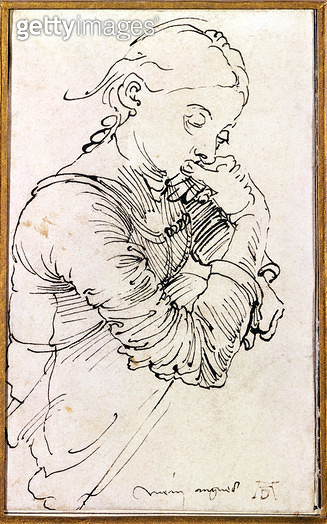 <b>Title</b> : My Agnes, Durer's wife depicted as a girl, 1495 (pen)<br><b>Medium</b> : pen drawing<br><b>Location</b> : Graphische Sammlung Albertina, Vienna, Austria<br> - gettyimageskorea