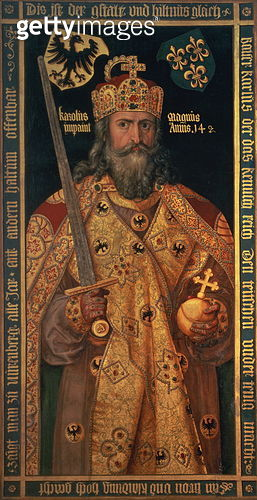 Charlemagne, Charles the Great (747-814) King of the Franks, Emperor of the West, in his coronation robes, 16th or 17th century - gettyimageskorea