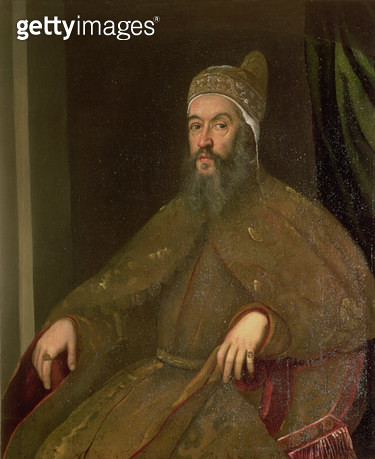 <b>Title</b> : Doge Alvise Mocenigo (Doge from 1570-77)<br><b>Medium</b> : oil on canvas<br><b>Location</b> : Galleria dell' Accademia, Venice, Italy<br> - gettyimageskorea