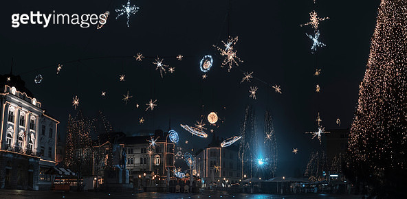 Low Angle View Of Illuminated Decorations Against Sky At Night - gettyimageskorea