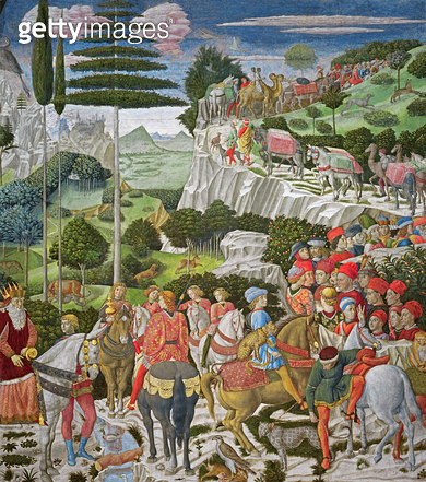<b>Title</b> : The Journey of the Magi to Bethlehem, the left hand wall of the chapel, c.1460 (fresco)<br><b>Medium</b> : <br><b>Location</b> : Palazzo Medici-Riccardi, Florence, Italy<br> - gettyimageskorea