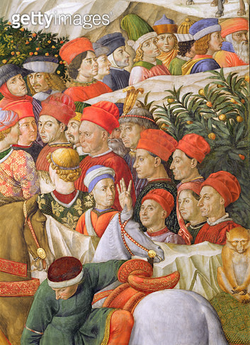 <b>Title</b> : Faces in the procession, detail from the Journey of the Magi cycle in the chapel, c.1460 (fresco) (detail of 70601)<br><b>Medium</b> : fresco<br><b>Location</b> : Palazzo Medici-Riccardi, Florence, Italy<br> - gettyimageskorea