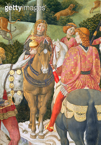 <b>Title</b> : Horsemen in the royal entourage, detail from the Journey of the Magi cycle in the chapel, c.1460 (fresco) (detail of 70601)<br><b>Medium</b> : fresco<br><b>Location</b> : Palazzo Medici-Riccardi, Florence, Italy<br> - gettyimageskorea