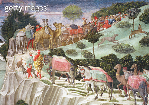 <b>Title</b> : Caravan of pack animals climbing a hill, detail from the Journey of the Magi cycle in the chapel, c.1460 (fresco) (detail of 706<br><b>Medium</b> : <br><b>Location</b> : Palazzo Medici-Riccardi, Florence, Italy<br> - gettyimageskorea