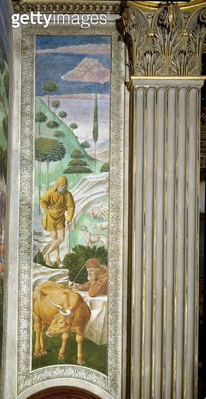 <b>Title</b> : Shepherd and herdsman, panel alongside the left wall of the Journey of the Magi cycle in the chapel, c.1460 (fresco)<br><b>Medium</b> : <br><b>Location</b> : Palazzo Medici-Riccardi, Florence, Italy<br> - gettyimageskorea