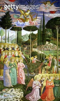 <b>Title</b> : Angels in a heavenly landscape, the left hand wall of the apse, from the Journey of the Magi cycle in the chapel c .1460 (fresco<br><b>Medium</b> : <br><b>Location</b> : Palazzo Medici-Riccardi, Florence, Italy<br> - gettyimageskorea
