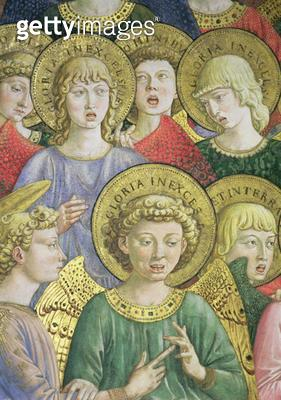 <b>Title</b> : Choir of Angels, detail from the Journey of the Magi cycle in the chapel, c.1460 (fresco) (detail of 70610)<br><b>Medium</b> : <br><b>Location</b> : Palazzo Medici-Riccardi, Florence, Italy<br> - gettyimageskorea