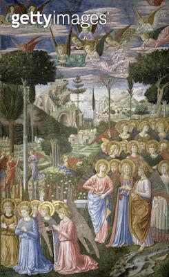 <b>Title</b> : Angels in a heavenly landscape, the right hand wall of the apse, from the Journey of the Magi cycle in the chapel, c.1460 (fresc<br><b>Medium</b> : <br><b>Location</b> : Palazzo Medici-Riccardi, Florence, Italy<br> - gettyimageskorea