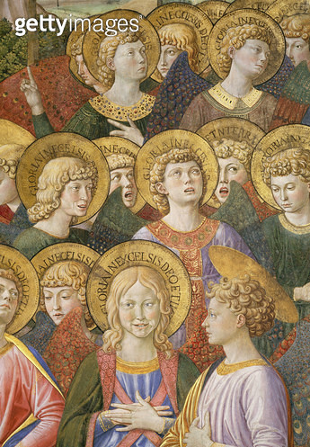 <b>Title</b> : Choir of Angels, detail from the Journey of the Magi cycle in the chapel, c.1460 (fresco) (detail of 70615)<br><b>Medium</b> : <br><b>Location</b> : Palazzo Medici-Riccardi, Florence, Italy<br> - gettyimageskorea