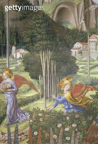 <b>Title</b> : Angel gathering flowers in a heavenly landscape, detail from the Journey of the Magi cycle in the chapel, c.1460 (fresco) (detai<br><b>Medium</b> : <br><b>Location</b> : Palazzo Medici-Riccardi, Florence, Italy<br> - gettyimageskorea