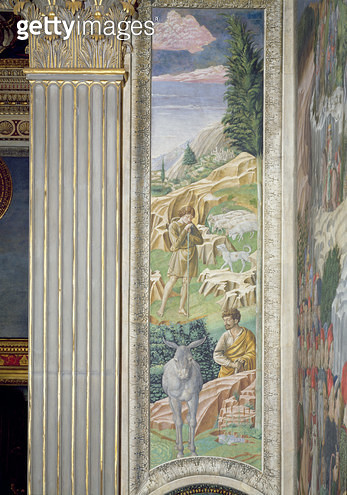 <b>Title</b> : Shepherd and his flock, panel alongside the right wall of the Journey of the Magi cycle in the chapel, c.1460 (fresco)<br><b>Medium</b> : fresco<br><b>Location</b> : Palazzo Medici-Riccardi, Florence, Italy<br> - gettyimageskorea