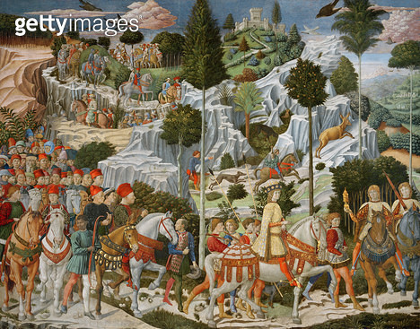 <b>Title</b> : The Journey of the Magi to Bethlehem, the right hand wall of the chapel, c.1460 (fresco)<br><b>Medium</b> : <br><b>Location</b> : Palazzo Medici-Riccardi, Florence, Italy<br> - gettyimageskorea