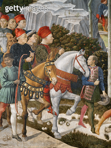 <b>Title</b> : Portraits of Piero de'Medici (on a mule), Cosimo de'Medici (centre) and the Duke Salviati (on horseback), detail from the Journe<br><b>Medium</b> : <br><b>Location</b> : Palazzo Medici-Riccardi, Florence, Italy<br> - gettyimageskorea