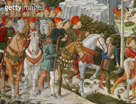 <b>Title</b> : Galeazzo Maria Sforza, Duke of Milan (1444-76), extreme left, on a brown horse and Sigismondo Pandolfo Malatesta, ruler of Rimin<br><b>Medium</b> : <br><b>Location</b> : Palazzo Medici-Riccardi, Florence, Italy<br> - gettyimageskorea