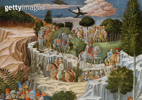 <b>Title</b> : Procession on horseback descending a hill, detail from the Journey of the Magi cycle in the chapel, c.1460 (fresco) (detail of 7<br><b>Medium</b> : <br><b>Location</b> : Palazzo Medici-Riccardi, Florence, Italy<br> - gettyimageskorea