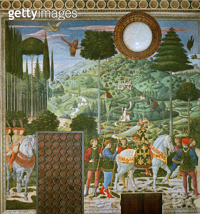 <b>Title</b> : The Journey of the Magi to Bethlehem, the back wall of the chapel, c.1460 (fresco)Additional InfoJohn VII Palaeologus, Eastern R<br><b>Medium</b> : <br><b>Location</b> : Palazzo Medici-Riccardi, Florence, Italy<br> - gettyimageskorea