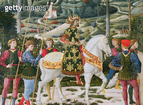 <b>Title</b> : John VII Palaeologus (1391-1448), Eastern Roman Emperor, as one of the Three Kings, detail from the Journey of the Magi cycle in<br><b>Medium</b> : <br><b>Location</b> : Palazzo Medici-Riccardi, Florence, Italy<br> - gettyimageskorea
