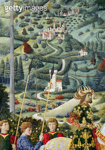 <b>Title</b> : Fantastical landscape, detail from the Journey of the Magi cycle in the chapel, c.1460 (fresco)Additional InfoJohn VII Palaeolog<br><b>Medium</b> : <br><b>Location</b> : Palazzo Medici-Riccardi, Florence, Italy<br> - gettyimageskorea