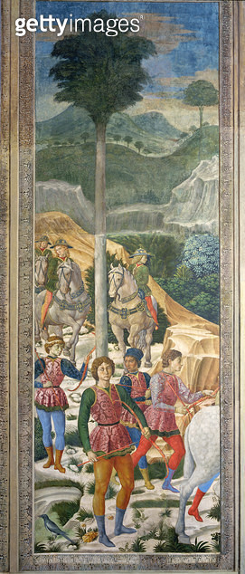 <b>Title</b> : Liveried archers and cavalry, panel alongside the back wall of the Journey of the Magi cycle in the chapel, c.1460 (fresco)<br><b>Medium</b> : fresco<br><b>Location</b> : Palazzo Medici-Riccardi, Florence, Italy<br> - gettyimageskorea