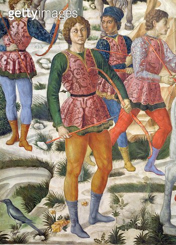 <b>Title</b> : Liveried archers, detail from the Journey of the Magi cycle in the chapel, c.1460 (fresco) (detail of 70630)<br><b>Medium</b> : fresco<br><b>Location</b> : Palazzo Medici-Riccardi, Florence, Italy<br> - gettyimageskorea