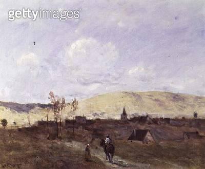 <b>Title</b> : Cavalier in sight of a Village, 1872<br><b>Medium</b> : oil on canvas<br><b>Location</b> : Galerie Nataf, Paris, France<br> - gettyimageskorea