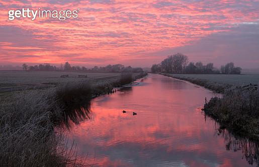 Sunset in Dutch Polder - gettyimageskorea