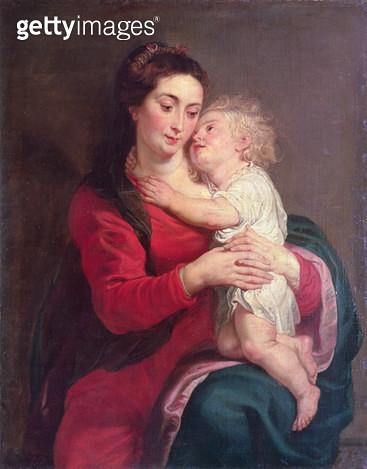 <b>Title</b> : Virgin with Child (oil on canvas)<br><b>Medium</b> : oil on canvas<br><b>Location</b> : Hermitage, St. Petersburg, Russia<br> - gettyimageskorea