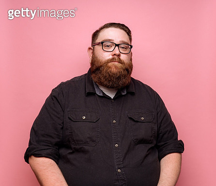 Bearded man on pink background - gettyimageskorea