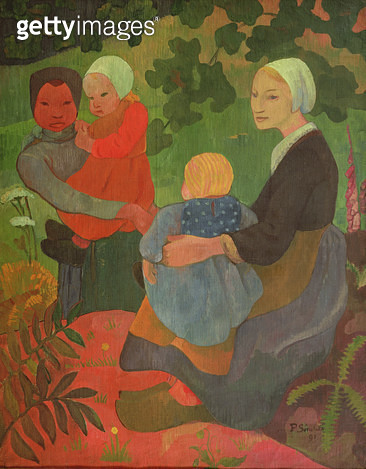 <b>Title</b> : The Young Mothers, 1891<br><b>Medium</b> : oil on canvas<br><b>Location</b> : Galerie L'Ergastere, Paris, France<br> - gettyimageskorea