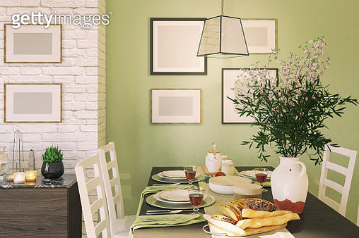 Picture of dining table in the dining room. Render image. - gettyimageskorea