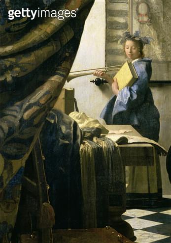 <b>Title</b> : The Artist's Studio, c.1665-6 (oil on canvas) (detail of 408)<br><b>Medium</b> : oil on canvas<br><b>Location</b> : Kunsthistorisches Museum, Vienna, Austria<br> - gettyimageskorea