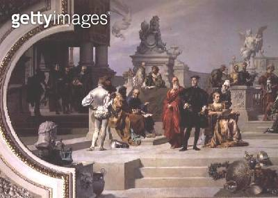<b>Title</b> : Patronage of the Arts by the House of Habsburg: left hand section of a ceiling painting, 1891 (see also 70755 and 70756)<br><b>Medium</b> : oil on canvas<br><b>Location</b> : Kunsthistorisches Museum, Vienna, Austria<br> - gettyimageskorea