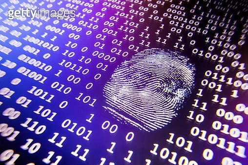 Fingerprint and binary code on computer screen - gettyimageskorea
