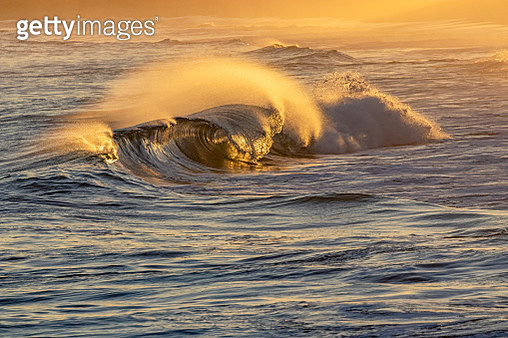Seascape: wave breaking at sunset with tube and spray - gettyimageskorea